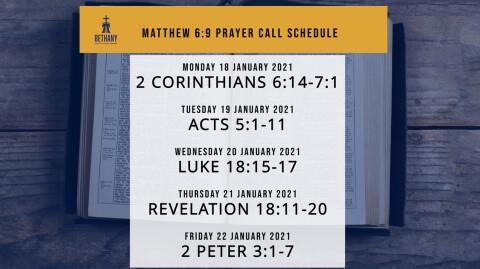 Prayer Call Schedule: 1/18/21 - 1/22/21