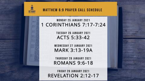 Prayer Call Schedule: 1/25/21 - 1/29/21