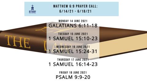 Prayer Call Readings 6/14/21 - 6/18/21