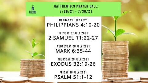 Prayer Call Readings 7/26/21 - 7/30/21