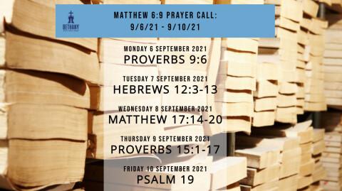 Prayer Call Readings 9/6/21 - 9/10/21