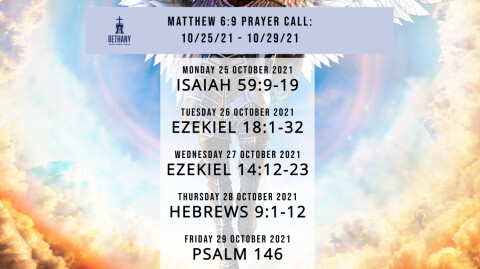 Prayer Call Readings 10/25/21 - 10/29/21
